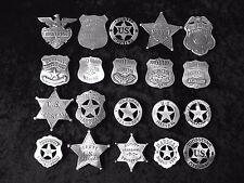 20  BADGES   POLICE, MARSHAL, SHERIFF, BROTHEL,  (BADGES OF THE OLD WEST)