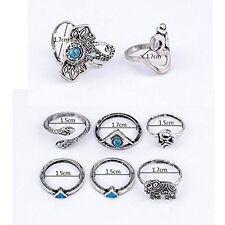 GirlZ! Vintage Bohemian Turkish Steam punk Silver Plated Blue Stone Ring  Set