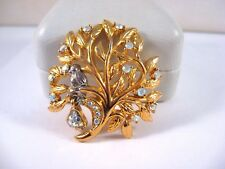 VTG Christmas Partridge In A Pear Tree~Gold AB Rhinestones Brooch~Sarah Coventry