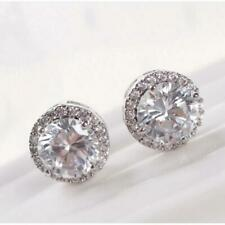 Enhanced Shiny Diamond Stud Earrings Round Cut White Gold Jewelry for Women 6L
