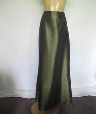SKIRT Maxi Evening Olive green Shot Sz 14 Formal Prom Red carpet Chic Classic