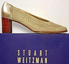 Stuart Weitzman Pale Gold Crocheted Bridal Wedding Evening Pumps Shoes sz 7 AA