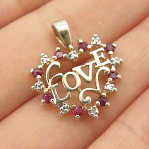 """925 Sterling Gold Plated Real Diamond Accent & Ruby Gem """"LOVE"""" Heart Pendant"""