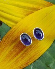 Amethyst Ohrstecker oval, 925er Silber Edelstein Ohrringe Ohrring lila Stecker