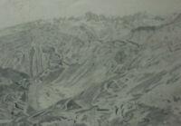 BLEISTIFT ZEICHNUNG Blick vom Furkahorn vor 1910 ca. 25,5 x 20 cm Karl Ehlers