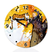 Calvin And Hobbes Wood Wall Clock Home Office Room Decor Gift Round