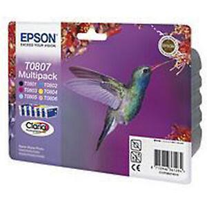 Authentic Epson T0807 original Epson  Hummingbird Ink cartridges (set of 6)