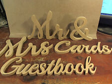 Free standing LG Mr & Mrs Cards and Guestbook wedding decor MDF cutouts