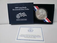 2009 Louis Braille Bicentennial Uncirculated Silver Dollar Commemorative Coin
