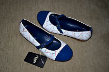 New Authentic Fendi Girl's Blue White Dressy Ballet Flat Shoes (Size 31) US 1