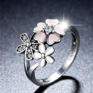 GENUINE S925 SILVER  BOUQUET RING POETIC BLOOM CHERRY BLOSSOM SIZE 60  SALE !!