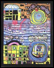 Hundertwasser Die Vier Einsamkeiten Poster Kunstdruck Bild im Alu Rahmen 90x70cm