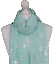 Mint Dandelion Print Scarf Silver Metallic Dandelions Mother Friend Spring Wrap