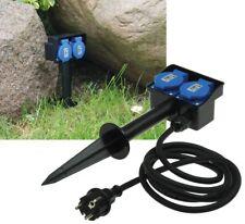 Gartensteckdose IP44 2-fach Erdspieß 250V 16A Kabel 1,4m Deckel Schutzkontakt