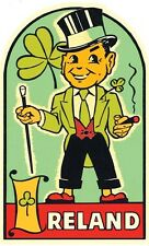 Ireland  Leprechaun   Vintage  1950's Style  Travel Decal  Sticker  Label