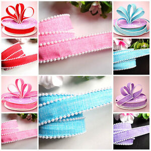7/8 inch wide Pearl Trim Linen Ribbon select color price for 1 yard