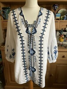 Lovely peasant/bohemian Top. Gorgeous Embroidered Details. Size 12. River Island