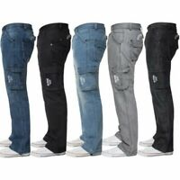 Enzo Mens Cargo Combat Trousers Jeans Work Casual Denim Pants Big Tall All Waist