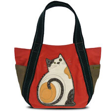 New Chala Handbag Carryall Tote  LAZZY CAT Dark Orange Canvas Large Bag gift