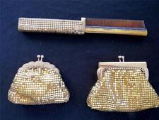 TWO VINTAGE 1940'S BRASS MESH COIN BAGS AND BRASS MESH COMB
