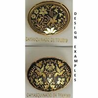 Damascene Gold Dove of Peace Design Oval Brooch by Midas of Toledo Spain