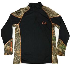 Realtree by Buckhorn River Men's Pullover 1/4 Zip Camo Long Sleeve Black Fleece