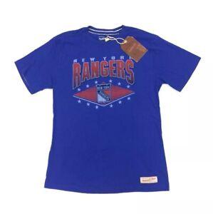 New York Rangers Mitchell & Ness Blue Vintage Hockey Graphic Logo T Shirt Size M