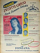 PUBLICITÉ DE PRESSE 1956 SUR DISQUE FONTANA PRODUCTION PHILIPS - JULIETTE GRÉCO