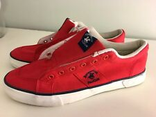 BEVERLY HILLS POLO CLUB MEN'S Sz 9 RED PREMIUM CANVAS LACE UP SHOES