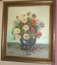 Listed Signed Candelis Spanish Impressionist Oil/canvas Floral Bouquet Painting