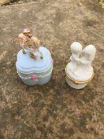 Lot of 2 Vintage Trinket Boxes/ Ring Boxes/ Porcelain Trinket Boxes