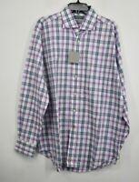 Thomas Dean Mens Long Sleeve Woven Shadow Plaid Purple Flip Cuff Dress Shirt XL