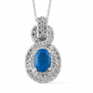 Neon Apatite Pendant Necklace (20 in) in Platinum Over Sterling Silver 2.15 ctw