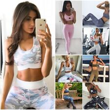 Womens Camo Gym Fitness Top Leggings Set  Running Sports Yoga Workout Tracksuit