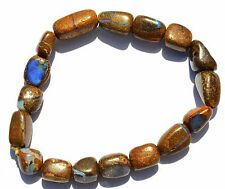 77Cts. Natural Gem Australian Boulder Opal Flashy Fire Nugget Beads Bracelet 7""