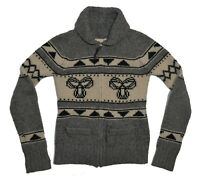TNA Aritzia Cowichan Lambswool Sweater Size Small Gray Sea to Sky Full Zip Knit