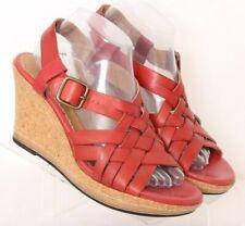 Clarks Indigo 83962 Red Leather Slingback Woven Cork Wedge Heels Women's US 9M