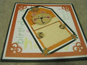 HANDMADE HAPPY BIRTHDAY Greeting Card  3D BEAR /w Pencil Sketch Pattern