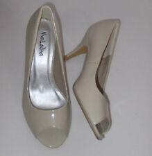 "NEW  VivaLaDiva beige peeptoe 2.5"" heel shoe size UK 5EEE"