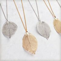 Zhannel Genuine ASPEN Filigree GOLD REAL LEAF PENDANT Necklace Charm Made in USA