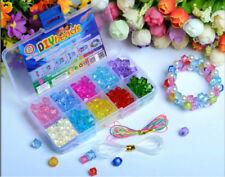 120pcs Plastic Jewelry Beads Shining Bling Crystal Set For Kids Crafts DIY Kit
