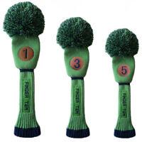 Pom Pom Headcover Set 1 3 5 Golf Knit Head Covers Pom Longneck Green Taylormade
