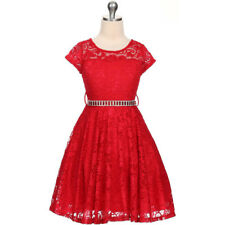 RED Flower Girl Dress Wedding Pageant Dance Bridesmaid Gown Recital Formal Prom