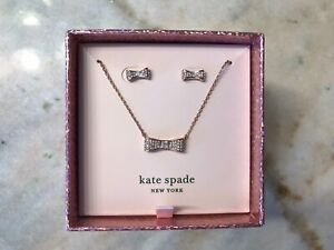 NEW! Kate Spade Ready Set Bow ROSEGOLD Pendant Necklace & Bow Studs Boxed Set
