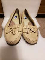 Dr Scholl's Women Size 6.5 Tan Leather Flats Double Pillow Loafers Shoes