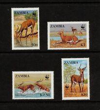 (YYAH 891) Zambia 1987 MNH Antelope Mi 438 - 441 Sc 427 - 430 SG 537 - 540 WWF