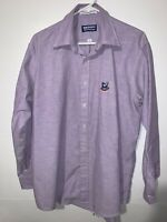 Peanuts Mens Size 16 (32/33) Snoopy And Friends Purple Long Sleeve Button Up