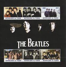 Los Beatles John Lennon Paul Mccartney Tchad 2017 estampillada sin montar o nunca montada SELLO Sheetlet
