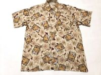 Imprints Mens Sz M Hawaiian Camp Shirt Floral pattern 100% Rayon euc