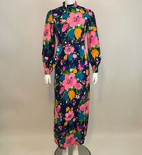 Brenner Couture Vintage Long Dress 60s Mod Floral Blue Green Pink Long Sleeve S?
